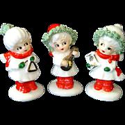 3 Napcoware Miniature Bone China Christmas Caroling Girl Figurines