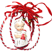 Ceramic Girl With Doll Figurine in Christmas Ornament