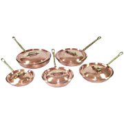 Hammered Copper Vintage Skillets With Lids Set of 5