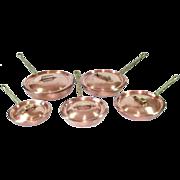 Hammered Copper Vintage Skillets With Lids Set of 5