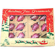 Box Tiny Feather Tree Pink Pine Cones Glass Christmas Ornaments