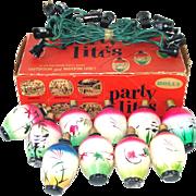 1940s Jumbo Japanese Lantern Lights Set in Box Christmas or Party