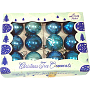 1950s Shiny Brite Blue Feather Tree Glass Christmas Ornaments