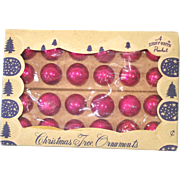 Box 24 Pink Shiny Brite Miniature Glass Christmas Ornaments