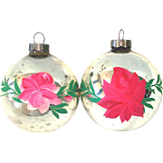 Pair 1930s USA Hand Painted Roses Glass Christmas Ornaments