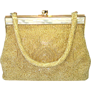 DeLill Gold Beaded Handbag Purse Mother of Pearl Frame
