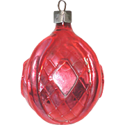 Premier 1930s Paneled Quilted Diamond Glass Christmas Ornament