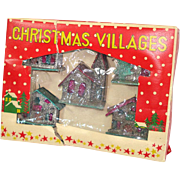 Box 1950s Miniature Mica Encrusted Christmas Putz Village Ornaments