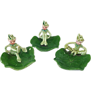 Trio 1950s Pixie Ceramic Elf on Lily Pad Figurines