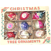 Box 1950s Poland Fancy Indents Glass Christmas Ornaments