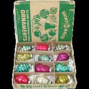 Box Shiny Brite 1930s Shapes Glass Christmas Ornaments