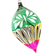 1930s USA Blown Glass Jumbo Teardrop Christmas Ornament