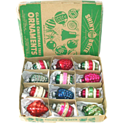 Box Shiny Brite 1940s Shapes Glass Christmas Ornaments