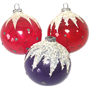 West Germany Unsilvered Coconut Snow Glass Christmas Ornaments
