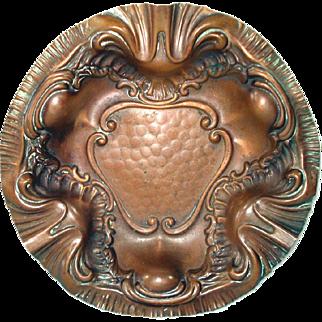 Art Nouveau Repousse Copper Bowl