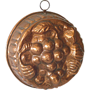 Hand Wrought Copper Grapes Mold 10 Inches