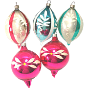 Hand Painted USA Blown Glass Teardrop Christmas Ornaments