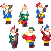 Hard Plastic Musical Gnomes Christmas Ornaments Set 6