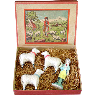 Antique Germany Stick Leg Woolly Sheep Christmas Putz Toy Set