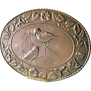 Peerage Oval Copper Repousse Birds Wall Hanging Plaque