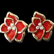 Red Enamel Flower With Rhinestones Clip Earrings