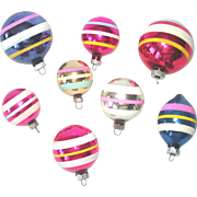 8 Classic Shiny Brite Stripes Glass Christmas Ornaments