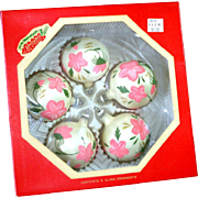 Box Hand Painted Pink Roses Glass Christmas Ornaments