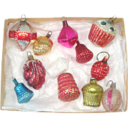 Box 12 Antique Glass Feather Tree Christmas Ornaments