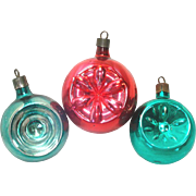 1930s Premier Glass Double Indent Christmas Ornaments