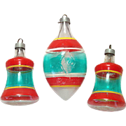Premier Unsilvered Glass Stripes Christmas War Ornaments