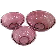 Pyrex Cranberry 3 Piece Mixing Nesting Bowls Set