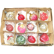 Box Antique German Small Feather Tree Glass Christmas Ornaments