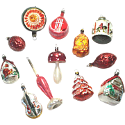 12 Figural German Glass Christmas Ornaments
