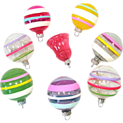 8 Unsilvered World War II Glass Christmas Ornaments Stripes, Bell