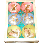 Box Plastic Germany Angel Diorama Scene Christmas Ornaments