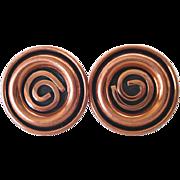 Renoir Modernist Spiral Coils Solid Copper Cufflinks