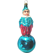 Clown on Ball German Glass Christmas Ornament