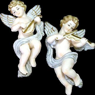 Norcrest Pair Porcelain Bisque Cherub Angel Wall Hanging Figurines