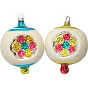 Triple Flower Finial Indent Pair Glass Christmas Ornaments