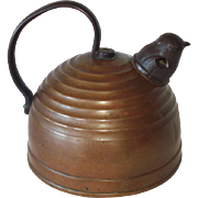 1930s Revere Copper Ring Beehive Tea Kettle Whistling Chick Spout