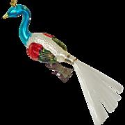 Peacock Bird Clip-On Christmas Ornament Spun Glass Tail