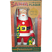 Paramount 1950s Flat Back Lighted Santa Christmas Plaque In Box