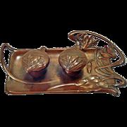 Art Nouveau Jugendstil Bronze Double Inkwell