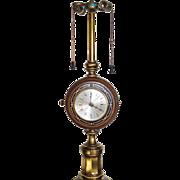 Stiffel Brass Wood Clock Barometer Table Lamp