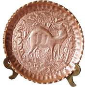 Persian Repousse Copper Camel Plate