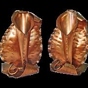 Gregorian Copper Calla Lily Flower Holder Bookends
