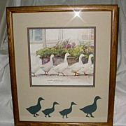 1983 Dawna Barton Framed Geese Print Dinner Call