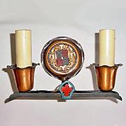 Gothic Revival Copper Cast Iron Double Sconce Light Fixture