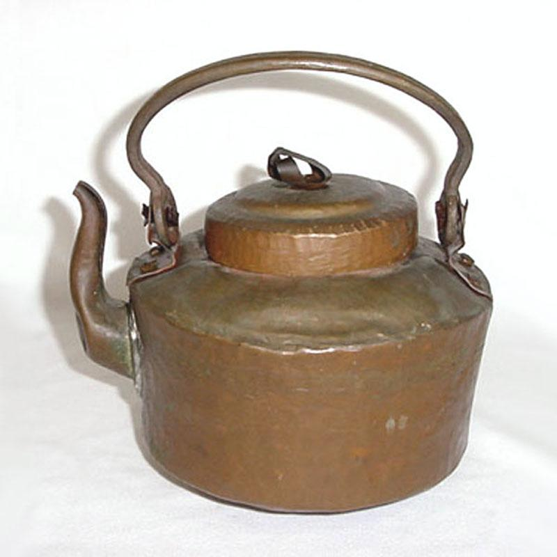 Antique Primitive Hammered Copper Water Kettle