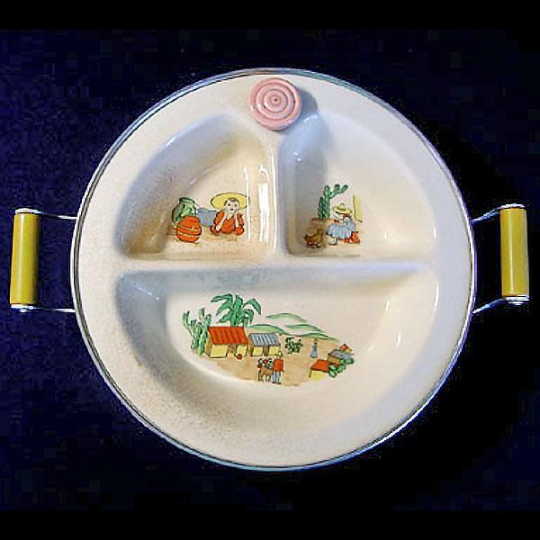 Chrome and Pottery 1930s Childs Covered Feeding Dish with Mexican Southwestern Theme